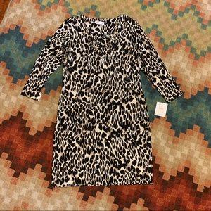 NWT Calvin Klein Deep V Sexy Dress 12 Cheetah